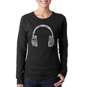 LA Pop Art Women's Word Art Long Sleeve T-Shirt - HEADPHONES - LANGUAGES