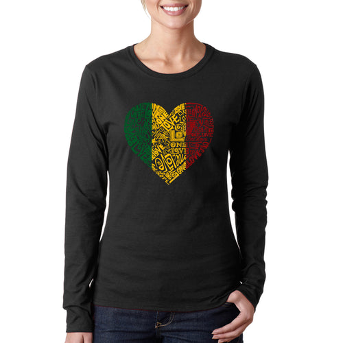 LA Pop Art  Women's Word Art Long Sleeve T-Shirt - One Love Heart