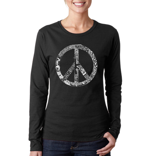 LA Pop Art Women's Word Art Long Sleeve T-Shirt - PEACE, LOVE, & MUSIC