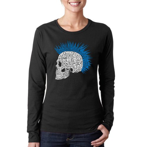 LA Pop Art Women's Word Art Long Sleeve T-Shirt - Punk Mohawk
