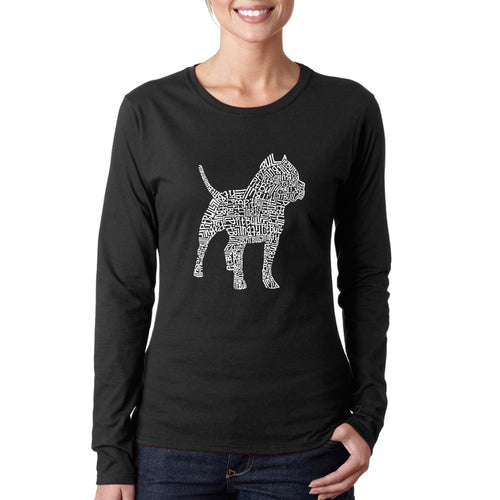 LA Pop Art  Women's Word Art Long Sleeve T-Shirt - Pitbull