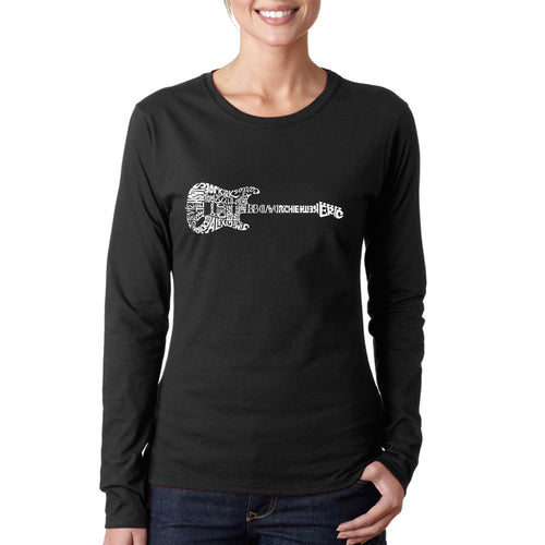 LA Pop Art  Women's Word Art Long Sleeve T-Shirt - Rock Guitar