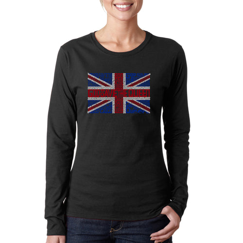 LA Pop Art Women's Word Art Long Sleeve T-Shirt - God Save The Queen