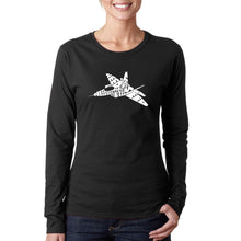 Load image into Gallery viewer, LA Pop Art Women's Word Art Long Sleeve T-Shirt - FIGHTER JET - NEED FOR SPEED