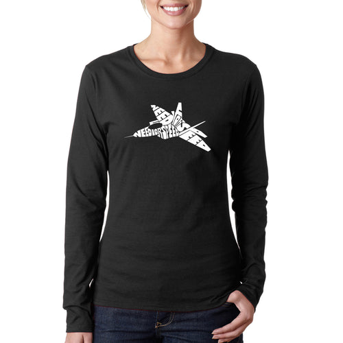 LA Pop Art Women's Word Art Long Sleeve T-Shirt - FIGHTER JET - NEED FOR SPEED