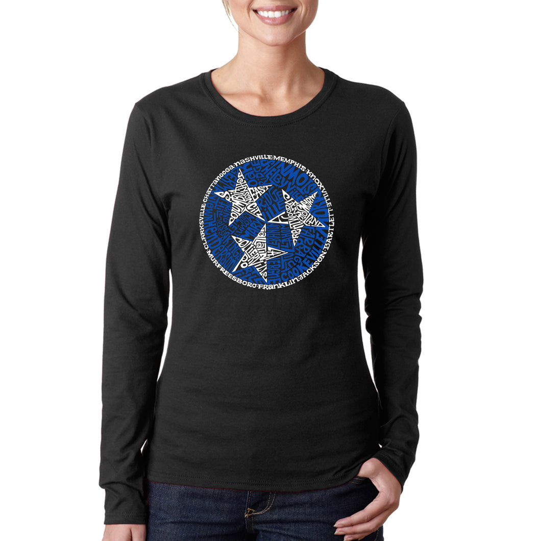 LA Pop Art Women's Word Art Long Sleeve T-Shirt - Tennessee Tristar