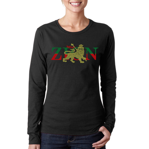 LA Pop Art Women's Word Art Long Sleeve T-Shirt - Zion - One Love