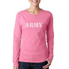 Load image into Gallery viewer, LA Pop Art Women's Word Art Long Sleeve T-Shirt - LYRICS TO THE ARMY SONG