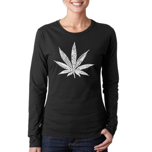 LA Pop Art Women's Word Art Long Sleeve T-Shirt - 50 DIFFERENT STREET TERMS FOR MARIJUANA