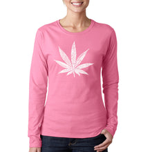Load image into Gallery viewer, LA Pop Art Women's Word Art Long Sleeve T-Shirt - 50 DIFFERENT STREET TERMS FOR MARIJUANA
