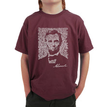 Load image into Gallery viewer, LA Pop Art Boy's Word Art T-shirt - ABRAHAM LINCOLN - GETTYSBURG ADDRESS