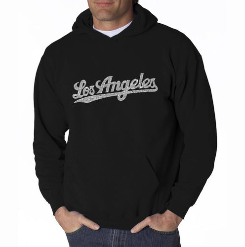 LA Pop Art Men's Word Art Hooded Sweatshirt - LOS ANGELES NEIGHBORHOODS