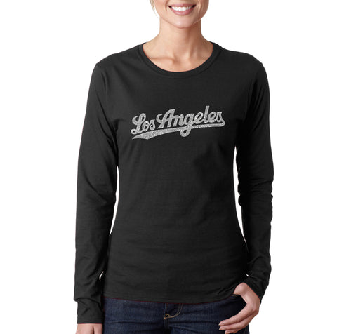 LA Pop Art Women's Word Art Long Sleeve T-Shirt - LOS ANGELES NEIGHBORHOODS