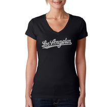 Load image into Gallery viewer, LA Pop Art Women's Word Art V-Neck T-Shirt - LOS ANGELES NEIGHBORHOODS
