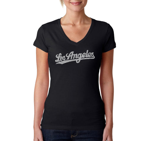 LA Pop Art Women's Word Art V-Neck T-Shirt - LOS ANGELES NEIGHBORHOODS