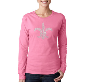LA Pop Art Women's Word Art Long Sleeve T-Shirt - FLEUR DE LIS - POPULAR LOUISIANA CITIES