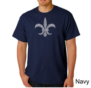 LA Pop Art Men's Word Art T-shirt - FLEUR DE LIS - POPULAR LOUISIANA CITIES