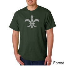 Load image into Gallery viewer, LA Pop Art Men's Word Art T-shirt - FLEUR DE LIS - POPULAR LOUISIANA CITIES