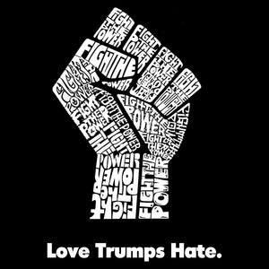 LA Pop Art Men's Tall Word Art T-shirt - Love Trumps Hate Fist