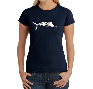 LA Pop Art Women's Word Art T-Shirt - Marlin - Gone Fishing