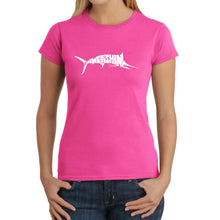 Load image into Gallery viewer, LA Pop Art Women's Word Art T-Shirt - Marlin - Gone Fishing