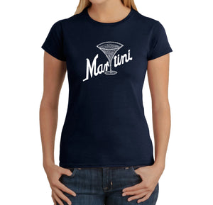 LA Pop Art Women's Word Art T-Shirt - Martini