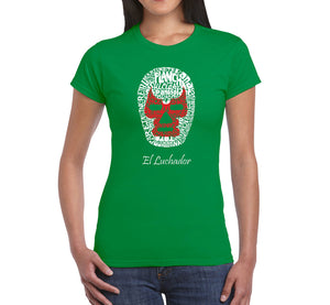 LA Pop Art Women's Word Art T-Shirt - MEXICAN WRESTLING MASK