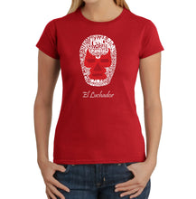 Load image into Gallery viewer, LA Pop Art Women's Word Art T-Shirt - MEXICAN WRESTLING MASK