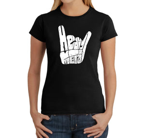 LA Pop Art Women's Word Art T-Shirt - Heavy Metal