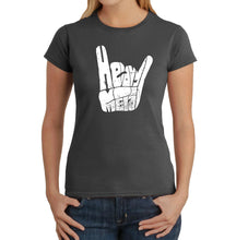 Load image into Gallery viewer, LA Pop Art Women's Word Art T-Shirt - Heavy Metal