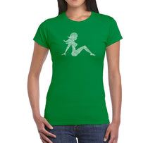 Load image into Gallery viewer, LA Pop Art Women's Word Art T-Shirt - MUDFLAP GIRL