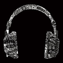 Load image into Gallery viewer, LA Pop Art Full Length Word Art Apron - HEADPHONES - LANGUAGES