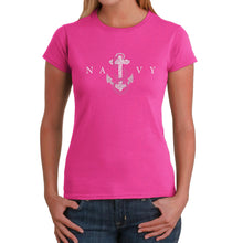 Load image into Gallery viewer, LA Pop Art Women's Word Art T-Shirt - LYRICS TO ANCHORS AWEIGH