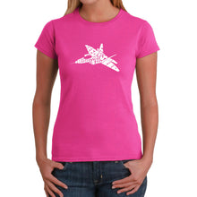 Load image into Gallery viewer, LA Pop Art Women's Word Art T-Shirt - FIGHTER JET - NEED FOR SPEED