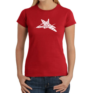 LA Pop Art Women's Word Art T-Shirt - FIGHTER JET - NEED FOR SPEED