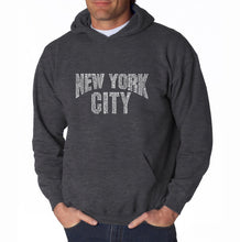 Load image into Gallery viewer, LA Pop Art Men's Word Art Hooded Sweatshirt - NYC NEIGHBORHOODS