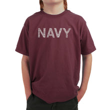 Load image into Gallery viewer, LA Pop Art Boy's Word Art T-shirt - LYRICS TO ANCHORS AWEIGH