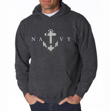 Load image into Gallery viewer, LA Pop Art Men's Word Art Hooded Sweatshirt - LYRICS TO ANCHORS AWEIGH