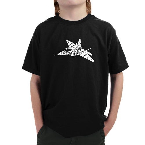 LA Pop Art Boy's Word Art T-shirt - FIGHTER JET - NEED FOR SPEED
