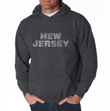 Load image into Gallery viewer, LA Pop Art Men's Word Art Hooded Sweatshirt - NEW JERSEY NEIGHBORHOODS