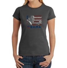 Load image into Gallery viewer, LA Pop Art Women's Word Art T-Shirt - BARACK OBAMA - ALL LYRICS TO AMERICA THE BEAUTIFUL
