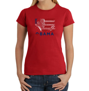 LA Pop Art Women's Word Art T-Shirt - BARACK OBAMA - ALL LYRICS TO AMERICA THE BEAUTIFUL