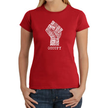 Load image into Gallery viewer, LA Pop Art Women's Word Art T-Shirt - OCCUPY - FIGHT THE POWER