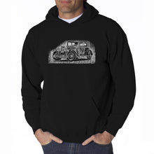 Load image into Gallery viewer, LA Pop Art Men's Word Art Hooded Sweatshirt - Legendary Mobsters