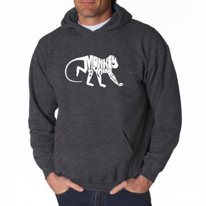 LA Pop Art Men's Word Art Hooded Sweatshirt - Monkey Business