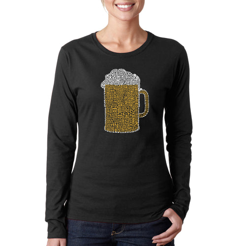 LA Pop Art Women's Word Art Long Sleeve T-Shirt - Slang Terms for Being Wasted