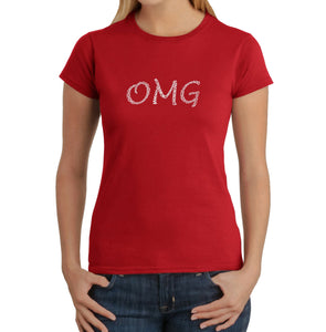LA Pop Art Women's Word Art T-Shirt - OMG