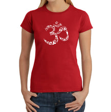 Load image into Gallery viewer, LA Pop Art Women's Word Art T-Shirt - THE OM SYMBOL OUT OF YOGA POSES