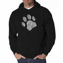 Load image into Gallery viewer, LA Pop Art Men's Word Art Hooded Sweatshirt - Dog Paw