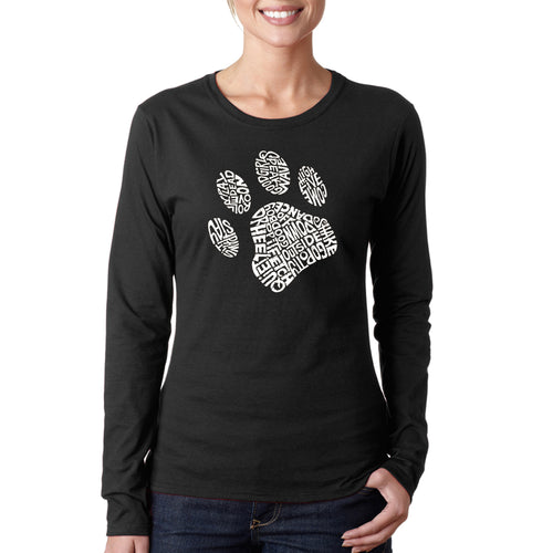 LA Pop Art Women's Word Art Long Sleeve T-Shirt - Dog Paw